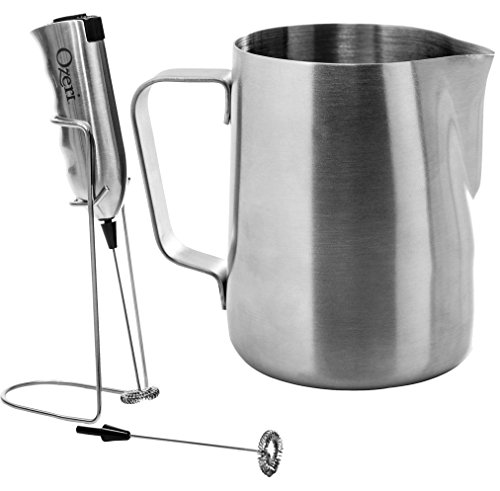 41IykMgBDcL - Ozeri Deluxe Stainless Steel Milk Frother and 12-Ounce Frothing Pitcher with Extra Whisk Attachment, Silver