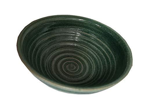 korium Rasierseifenschale Green Jungle- Keramik Rasierschale, handgemacht - Made in Germany - Durchmesser 11,5 cm - zum Aufschäumen von Rasierseife