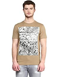 Wear Your Mind Brown Cotton Round-Neck Printed T-shirt For Men TSS199.2