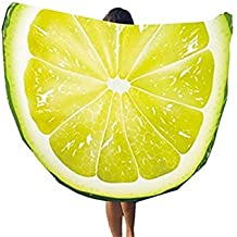 GYwink Lavar la Toalla Patrones de limón Fruta Impresa Ronda Toalla de Playa Manta Liviana 148x148cm