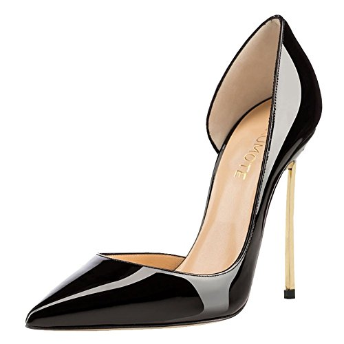 MERUMOTE Damen Y-173 Gold Heels Side Gold High Heels Pointed Toe Prom Schuhe Kleid-Pumpen EU 35-46 Schwarz-Lackleder