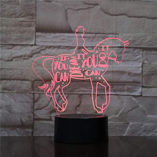 er Reiten Tier 3D Lampe Nacht Usb Led Beleuchtung Ändern Weihnachten Kinder Spielzeug Dekorative Tisch Dekor Lampe ()