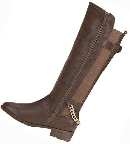 Damen Schuhe Stiefel Stretch Ketten Deko Boots Braun