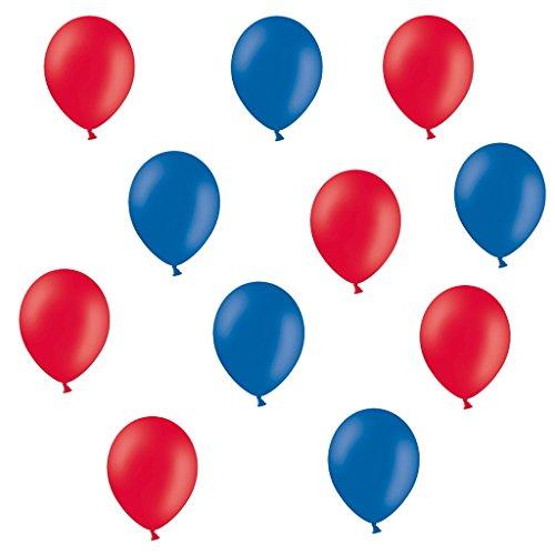 50 Premium Luftballons in Rot/Blau - Made in EU - 100% Naturlatex somit 100% giftfrei und 100% biologisch abbaubar - Geburtstag Party Hochzeit Silvester Karneval - für Helium geeignet - twist4® (Luftballons Und Blau-silber Weiße)