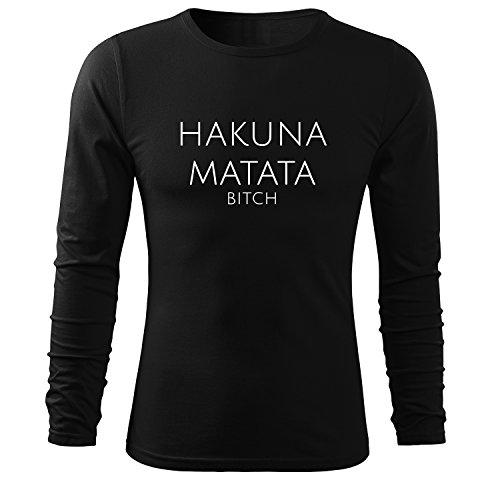 Herren Hakuna Matata Hoodie Herren Sport Freizeit Tank Shirt Ärmellos von OwnDesigner mit Aufdruck (95-LS119-Schwarz-L) (Halbarm Rib)