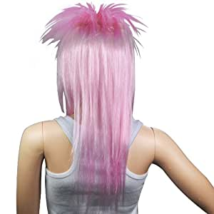Tinxs Pink Ladies Glam Punk Rocker Costume Wig for Fancy Dress Party