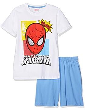 Spiderman Jungen Shorty-Pyjama - weiß