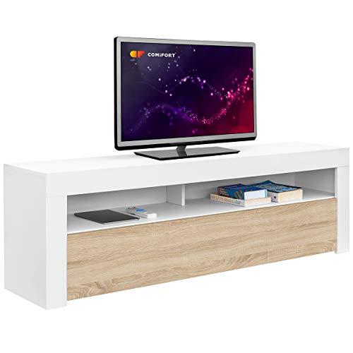 Comifort - Meuble de salon moderne pour télévision - Couleurs : Blanc, blanc/chêne, chêne - Dimensions : 100 x 35 x 49 cm