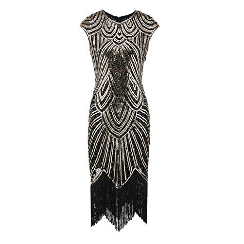 Amphia Damen Flapper Kleider Voller Pailletten Retro 1920er Jahre Stil V-Ausschnitt Great Gatsby Motto Party Damen (Gold, S)