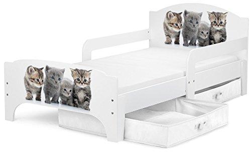 *Leomark Kinderbett mit Schubladen für Bettwäsche und Matratze 140 x 70 Motiv: Familie der Katzen*