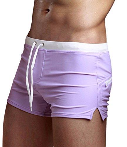 Zengvee Costume da Bagno a Boxer da Uomo Elastico con Taschino per Nuoto Spiaggia Mare Piscina Sport Slip Pantaloncini Calzoncini Mutande Porpora