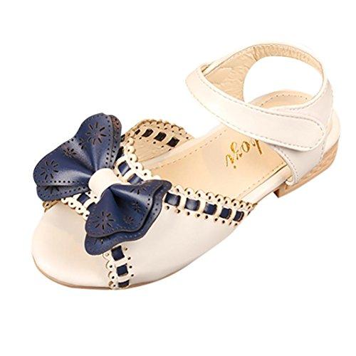 wknot Mädchen,Party Schuhe Shoes Offene Prinzessin Sandaletten Sommerschuhe Elegante Bequeme Badesandalette Freizeitschuhe Strandschuhe (31, Weiß) ()