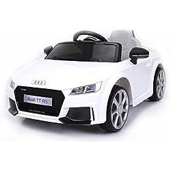 Véhicule électrique pour enfants Audi TT, Blanc, Original Licence, Alimentation par Batterie, Portes d'ouverture, Siège en cuir, 2x Moteur, Batterie 12 V, télécommande 2.4 Ghz, roues EVA douces