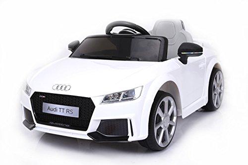 RIRICAR Audi TT RS, Blanco, Licencia Original, Batería accionada, Puertas de la Abertura, Asiento de Cuero, Motor 2X, Batería de 12 V, 2.4 GHz teledirigido, Ruedas Suaves de EVA, Arranque Suave