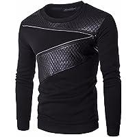 jeansian Inverno Uomo Slim Casuale Cerniera Pelle Designer Fashion Tee T-Shirts Camicie D726