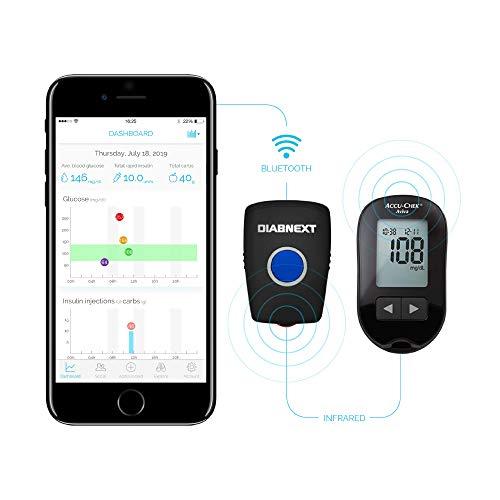 DIABNEXT Automatische Übertragung von Blutzuckerwerten auf das Smartphone - Anschluss für Infrarot Blutzuckermessgerät