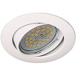 Wonderlamp Basic W-E000016 - Foco empotrable techo redondo blanco, incluye portalámparas GU10, diámetro de 8 x 1,5 cm. Ojo de buey basculante 30º.