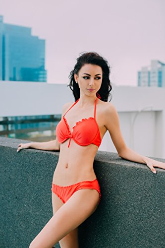 AvaMia Damen Bikini Set vorgeformtes Buegel-Bikinitop mit Bikinihose low Rueschchen Koralle