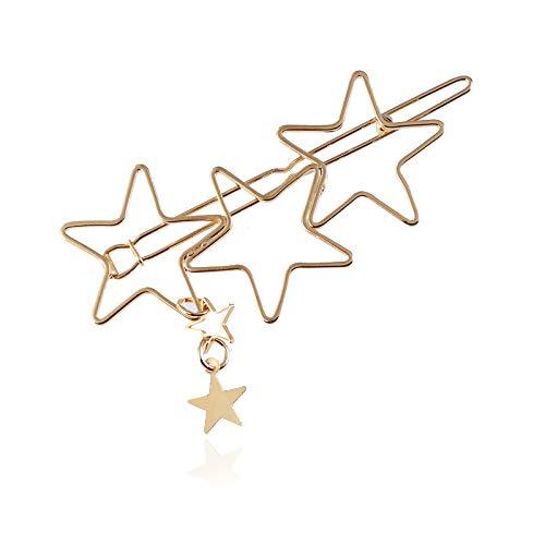 1 Stück Haarklammern, einfach, Metall, Legierung, Haarspangen, Zubehör, großes Pentagramm, Haarnadeln für Mädchen (Gold) (Einfache Dem Halloween-kostüme Schrank Aus)