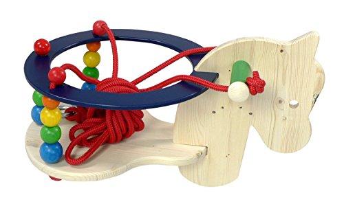 Hess Holzspielzeug 31115 - Gitterschaukel mit Pferdchenkopf aus Holz, Sitzfläche ca. 22 x 25 cm