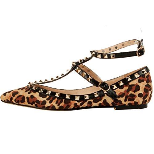 Calaier Femme Caforty Shiny Luxe Classic Leopard Print T Strap Rivet Studded Ankle Strap Chaussures Plates Mocassins 0.5CM Plat Boucle Ballerines Multicolore