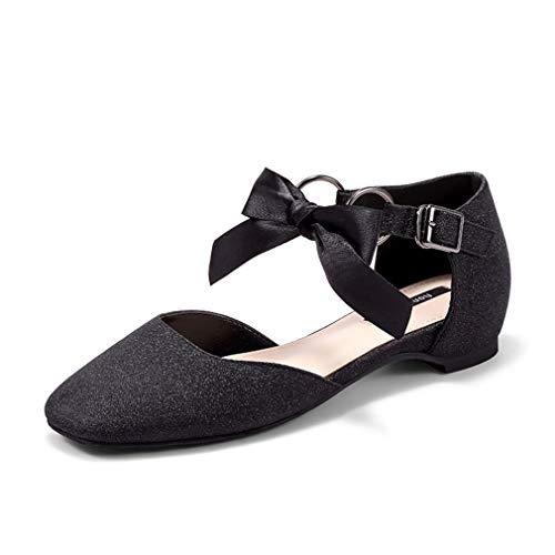 YAN Frau Kleid Schuhe Hausschuhe PU Flat-Schuhe Shallow Schuhe Mode Belt Buckle Bow Schuhe Party & Evening,B,34 - Glitter Bow Flats Schuhe