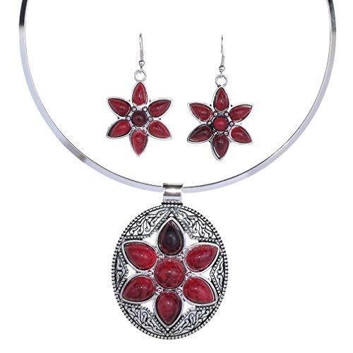 Yazilind faszinierender tiefer roter Türkis-ovaler Entwurfs-Legierungs-Schmucksache-Halsketten-Ohrring-Satz