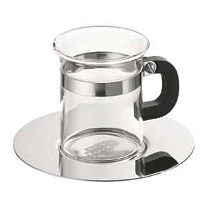 Bodum 4992-16 Chambord Set de 4 Tasses à Espresso Soucoupe Métal en Inox Brillant 8 Cl
