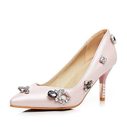 AllhqFashion Femme à Talon Correct Pu Cuir Couleur Unie Tire Pointu Fermeture D'Orteil Chaussures Légeres Rose