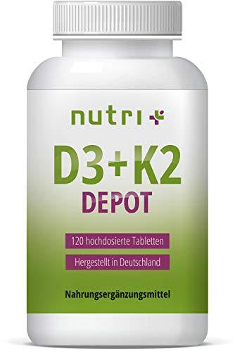 Vitamin D3 + K2 VEGAN - Hochdosiert - D Depot aus Flechten - Pflanzlich - Cholecalciferol - Menachinon MK7 all trans - 120 Tabletten (angenehmer als Kapseln) - Made in Germany -