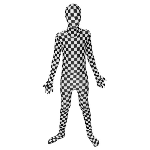 Morphsuits KPBCS - Kinder Kostüm, kariert, 102-118 cm, Größe S, schwarz/weiß (Muskel Morphsuit Kostüm)