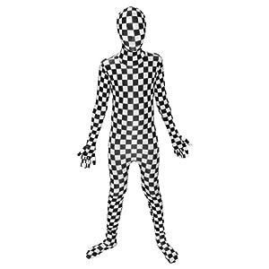 Compruebe Negro Blanco - Morphsuit para los niños - los niños Traje - Pequeño - Edad 6-8 (102-118cm)