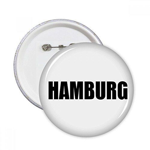 DIYthinker Hamburg Deutschland Stadt Name Runde Stifte Abzeichen-Knopf Kleidung Dekoration 5pcs Geschenk Mehrfarbig S