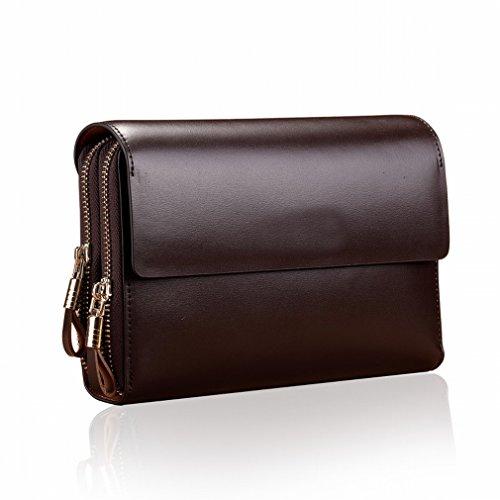 ZB Großhandelsmänner 'S Handbeutel Clamshellhandtasche Männliche Beiläufige Handholdingbeutel Mehrfachkartenreißverschlusstasche Braun
