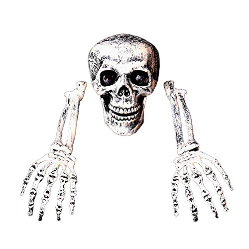 Kostüm Spuk Alten - INSN Halloween Horror Dekoration, Simulation Schädel Und Handknochen Dekoration Requisiten, Kinn Offen, Ausgezeichnete Festival Dekorationen, Für Zuhause, Party, Outdoor