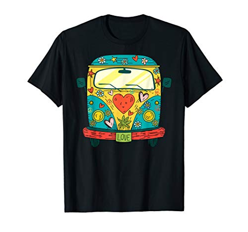 Hippie Kostüm - Peace Love Flower Power Retro Camper Bus T-Shirt (70er Jahre Cartoons Kostüm)