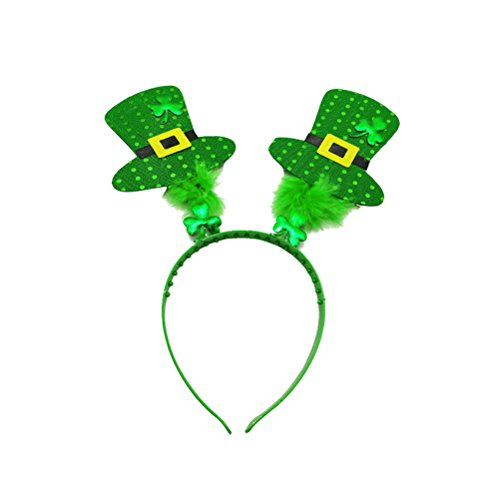 OULII St Patrick's Day Stirnband Rentier Shamrock Hat Hair Hoop Kopfschmuck für Party Favors Dekoration