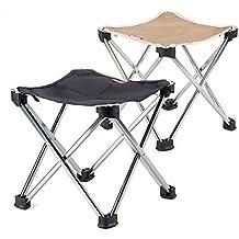 Super portátil taburete, silla plegable al aire libre, tren, Pony, aleación de aluminio silla de pesca, tamaño grande, Negro