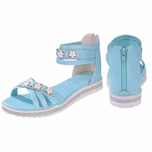 Transer ® Mode femmes fleur en cuir Peep-toe faible sandales d'été Bleu