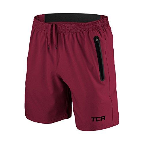 TCA Elite Tech Herren Trainingsshorts für Laufsport mit Reißverschlusstaschen - Dunkelrot - XL