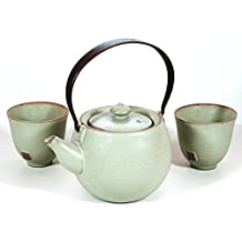 Tea Branch Juego de té japonés de cerámica para dos, tetera con 2 tazas de té e infusor de té, regalos de aniversario de pareja, porcelana china, verde, 380 mililitros