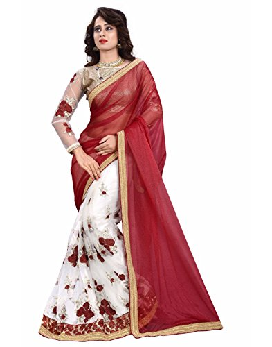 Texstile Women\'s Georgette Embroidered Maroon AND white Color Saree With Blouse Piece(Maroon_white_saree)