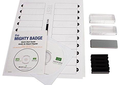 Impressum Plus The Mighty Badge 2,54x 7,62Zoll Namensschild Starter Kit für Laser-Drucker–Silber (10Stück)