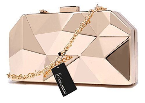 Kukubird Premium Metallic Diamond Shape Clutch Large Size Ladies PROM Party Geldbörse Clutch Gold