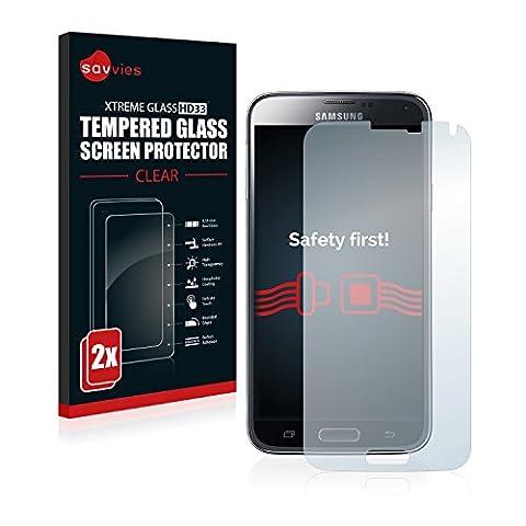 2x Savvies Panzerglas Samsung Galaxy S5 / S5 Neo Glasfolie Panzerfolie Schutzfolie - Klar, 9H Hartglas
