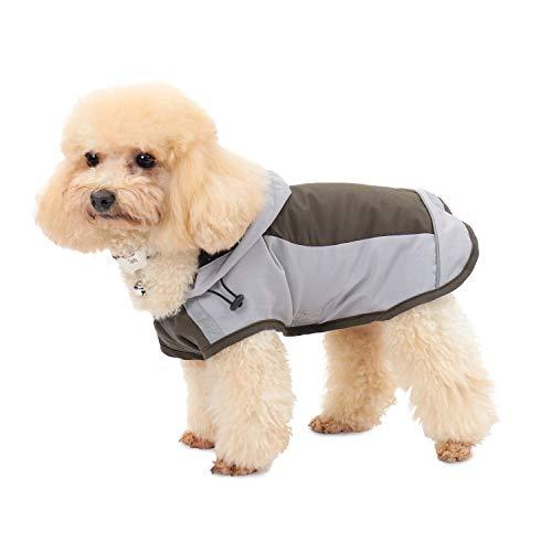 PAWZ Road Hund Regenmantel mit Kapuze Kragenloch Sichere Reflektierende Streifen Wasserdichte Regenjacke für kleine Mittel Große Hunde Brown S