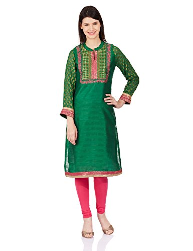 Rangriti Women's Straight Kurta (GLOSS EMBROIDERY # RR2155_Green_32)