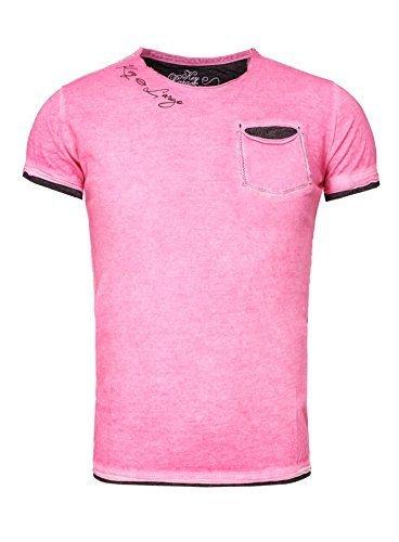 Mit Rundhalsausschnitt, Pink (Key Largo Herren T-Shirt HURRICANE Sommershirt bedruckt mit Brusttasche Vintage Look Slim Fit Schnitt Rundhals Rundhalsausschnitt Männer pink M)