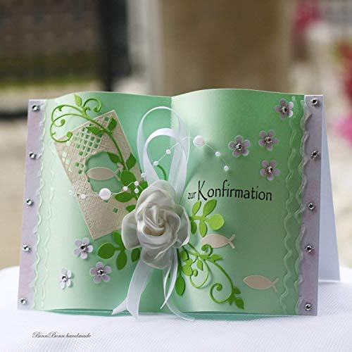 Personalisierte Glückwunschkarte Glückwunsch Geldgeschenk Grußkarte Minibuch A5 Kommunion Konfirmation Taufe Handarbeit binnbonn
