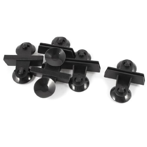 Water & Wood 3cm OD Base Black Plastic Rubber Glass Moving Suction Cup Plate 5 Pcs